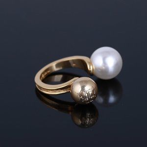Tory Burch Ball-Engraved Logo Pearl Open Ring